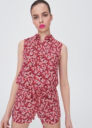 Новая широкая коралловая красная блузка белые цветы рубашка пуговицы польша xxs xs s xl