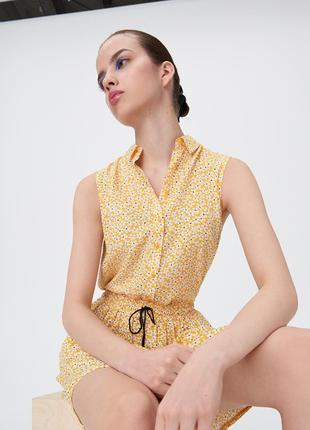 Новая оранжевая канареечная желтая блузка белые цветы рубашка пуговицы xxs xs s m l