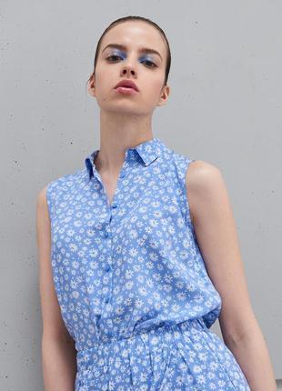 Новая широкая синяя васильковая голубая блузка белые цветы рубашка пуговицы xxs xs s m l