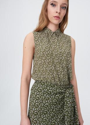 Новая широкая болотная хаки блузка белые листья растения рубашка пуговицы xxs xs s m xl