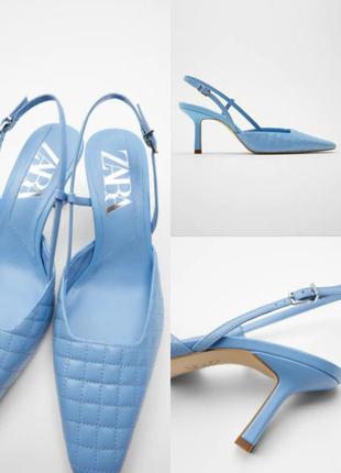 Стеганые кожаные туфли-мюли на среднем каблуке - zara