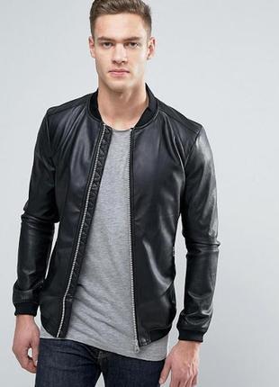 Куртка- бомбер последняя коллекция pull & bear ® leather bomber jacket (black)