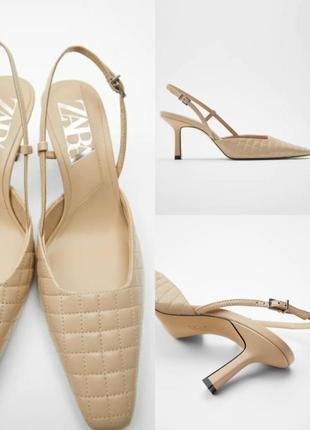 Стеганые кожаные туфли-мюли zara на среднем каблуке