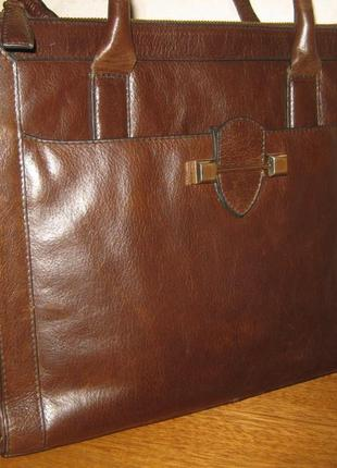 Marks & spencer шикарный добротный кожаный женский портфель сумка натуральная кожа