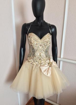 Плаття пишне платье короткое пишное сукня со стразами