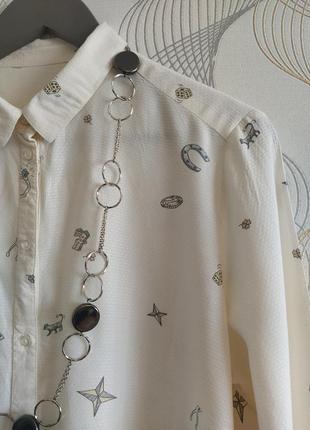 Трендовая рубашка,молочного цвета, италия
