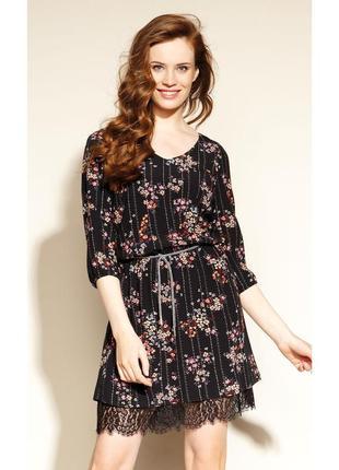 Платье короткое с резинкой, поясом-шнурком и кружевом осеннее zaps dairon 004 черное