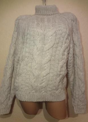 Вязаный свитер оверсайз под шею/водолазка h&m размер s