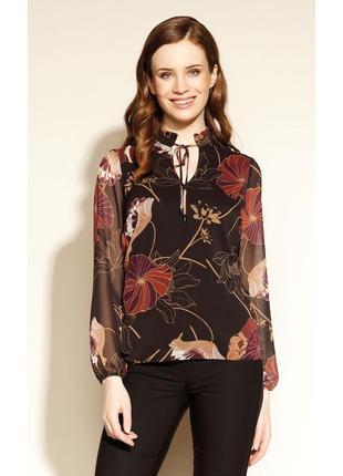 Блузка шифоновая с жаткой, подкладкой и длинным рукавом осенняя zaps colette 004 черная