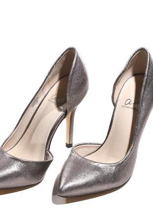 Туфли лодочки серебристые