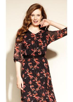 Платье миди ниже колена шифоновое с поясом воланами рукав 3/4 осеннее zaps clea 004 черное1 фото