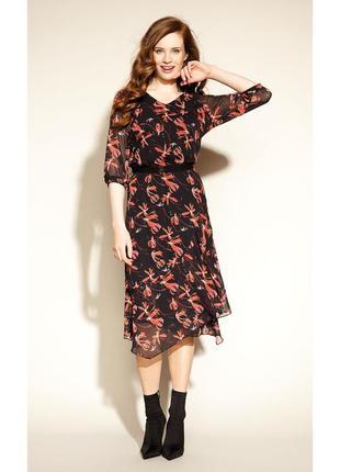 Платье миди ниже колена шифоновое с поясом воланами рукав 3/4 осеннее zaps clea 004 черное2 фото