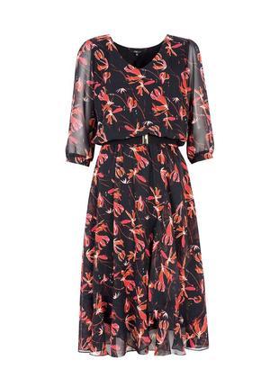 Платье миди ниже колена шифоновое с поясом воланами рукав 3/4 осеннее zaps clea 004 черное3 фото
