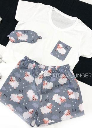 Хлопковая пижама, футболка и шорты, комплект для сна и дома с барашками
