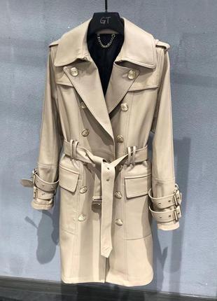 Модный кожаный плащ пальто  бренд 2020