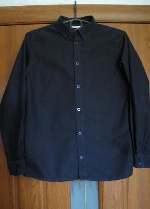 Однотонная рубашка с длинным рукавом в школу  pomp de lux