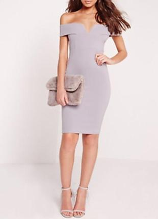 Missguided новое с биркой платье серое по фигуре с открытыми плечами карандаш футляр
