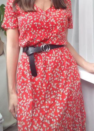 Платье длинное в ретро стиле в мелкий цветочек