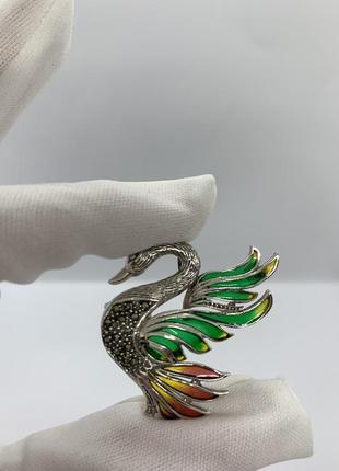 Серебряная брошь витражная эмаль