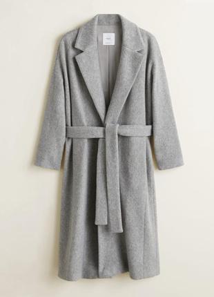 Базовое серое пальто манго