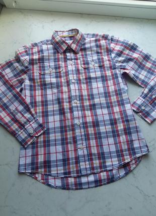 Клетчатая яркая рубашка mini boden на 9-10 лет