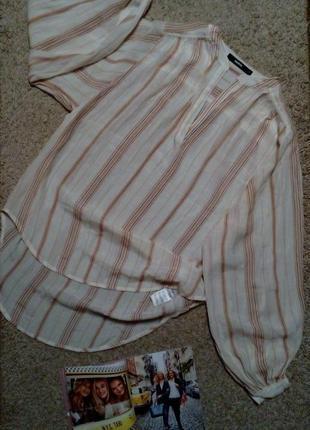 Bik bok удлиненная рубашка/блузка/туника свободного кроя, в полоску с трендовым  рукавом