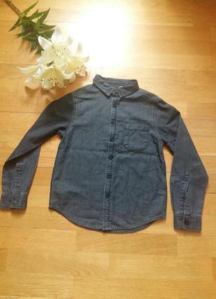 Стильная джинсовая рубашка urban в школу от корпорации peacocks на 6-7 лет для близнецов