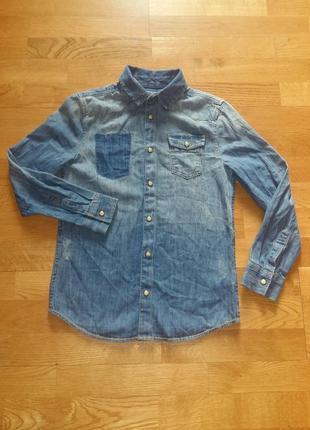 Стильная джинсовая рубашка marks&spenser на 8-9 лет