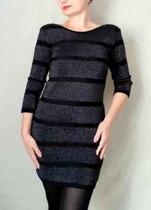 Черное с серебристым платье-свитер с вырезом на спинке разм с-м topshop