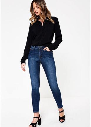 Синие голубые джинсы скинни супер стрейч джеггинсы низкая талия посадка с молниями