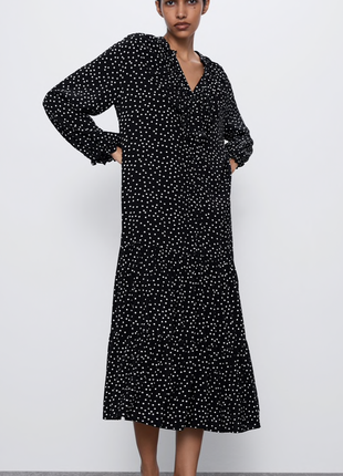 Вискозное платье в горошек zara,p.s-m