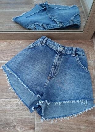 Синие джинсовые шорты с бахрамой topshop moto