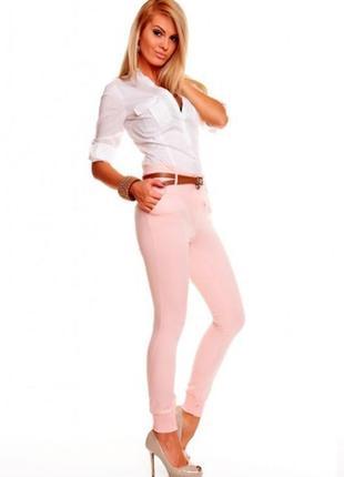 Розовые джинсы скинни молниями высокая талия джеггинсы батал срейч большой размер