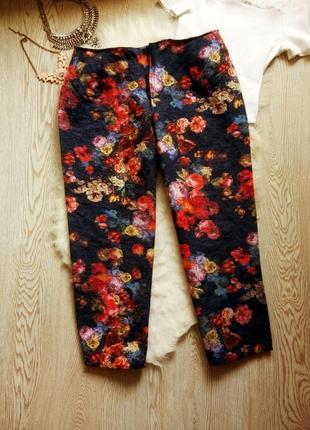 Цветные капри штаны брюки в цветочный принт высокая талия посадка батал большой размер