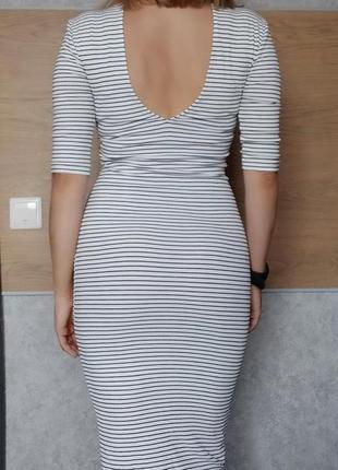 Платье в полоску белое marks&spenser