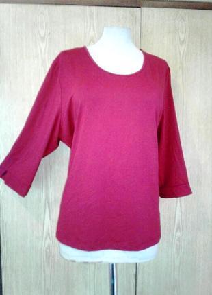 Красивейшая актуальная трикотажная бордовая блузка, 4xl .2 фото