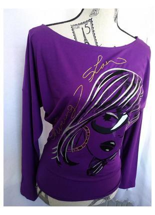 Лонгслив фиолетового цвета с длинным рукавом летучая мышь