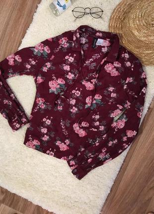 Блуза рубашка в цветочный принт
