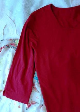 Красивейшая актуальная трикотажная бордовая блузка, 4xl .6 фото