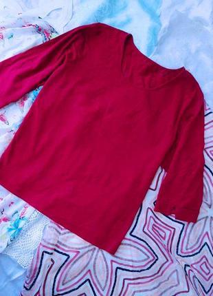Красивейшая актуальная трикотажная бордовая блузка, 4xl .1 фото