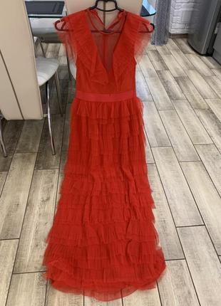 Шикарное платье красное платье нарядное в пол