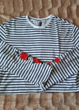 Лонгслив кофта h&m белый в полоску с розами