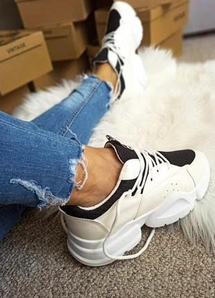 Стильные чёрно-белые кроссовки, женские  модные кроссовки