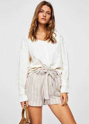 Льняная блуза рубаха от mango