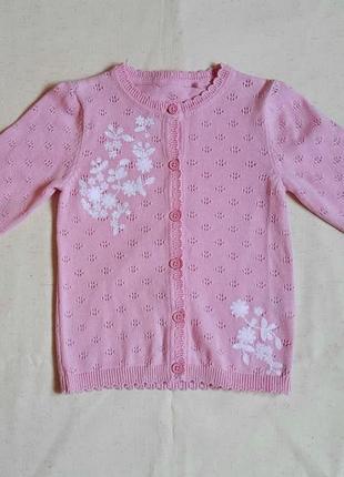 """Нарядная розовая кофта c с вышевкой цветы """"tu"""" англия на 1,5-2года"""