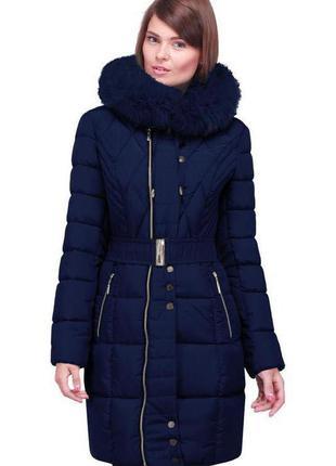 Зимнее женское пальто темно синего цвета