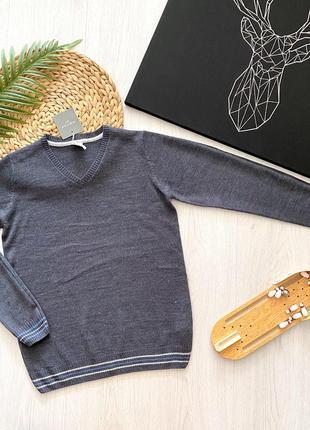 Серый школьный подростковый свитер джемпер для мальчика piazza italia италия