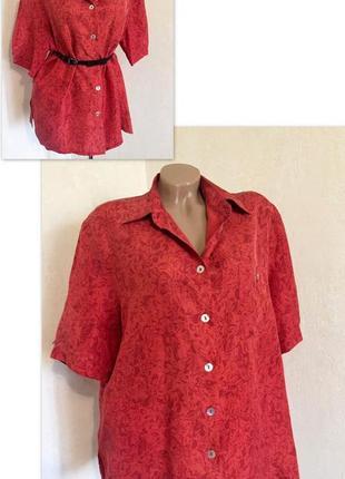 Блуза,винтаж,принт,100%шолк,короткий рукав,большой размер.