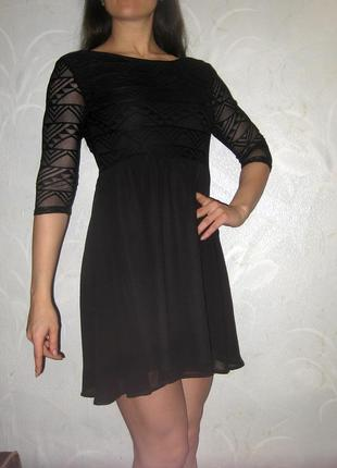 Платье h&m чёрное гипюровое ажурное четвертной рукав нарядное клубное вечернее