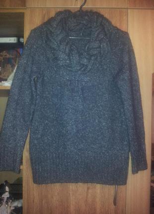 Актуальный меланжевый свитер с отделкой ворота косами бренд xanaka